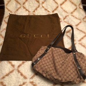 Gucci Abbey Monogram Tote Canvas Hobo Bag